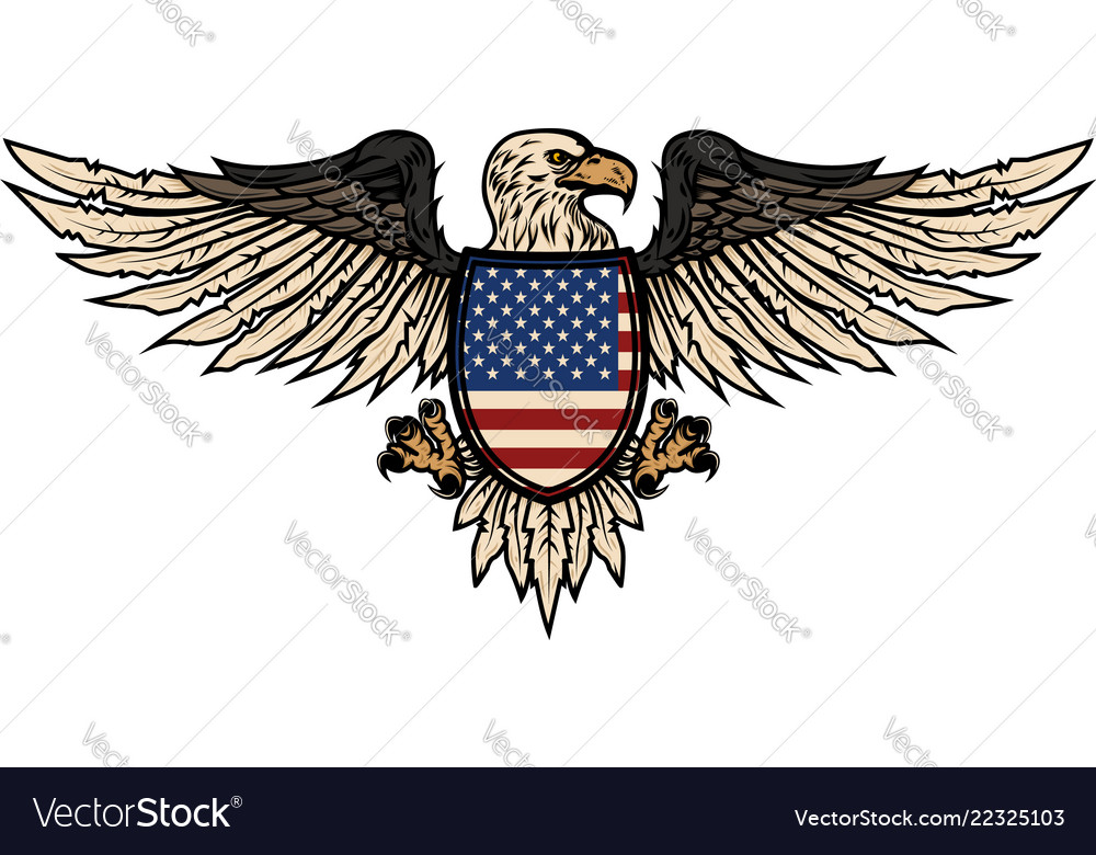 Eagle with american flag design element for