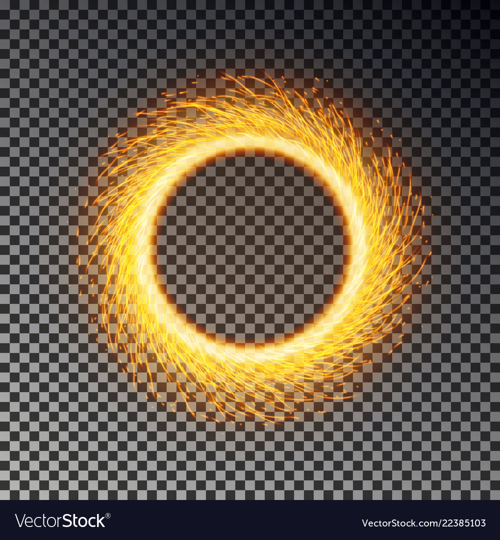Fiery sparks circle effect isolated sparkler ring
