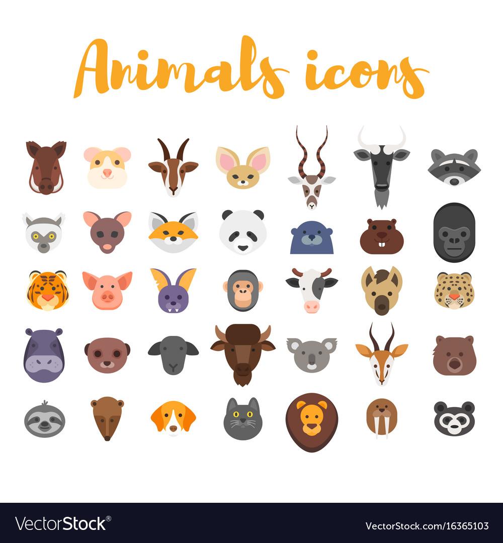 Flat style set of animal web icons