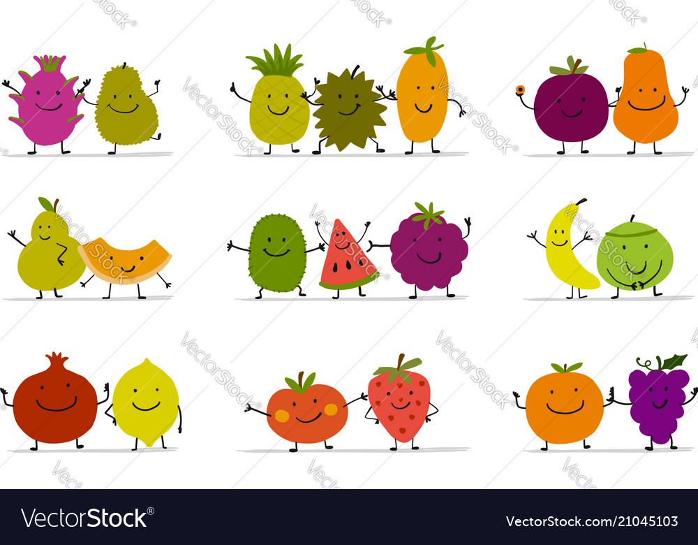 Funny fruits character set for your design vector image