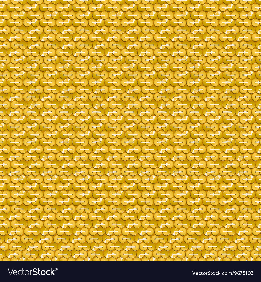 Gold shiny sequins with stitching seamless pattern vector image
