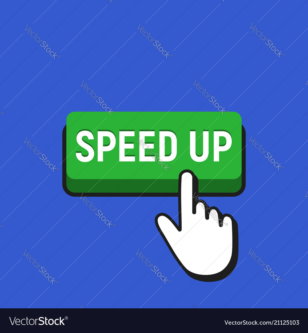 Hand mouse cursor clicks the speed up button