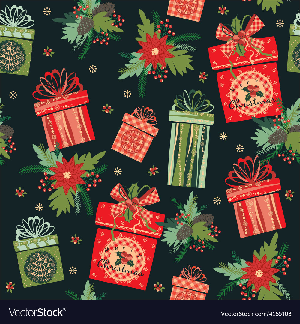 Merry Christmas gifts Seamless pattern Royalty Free Vector
