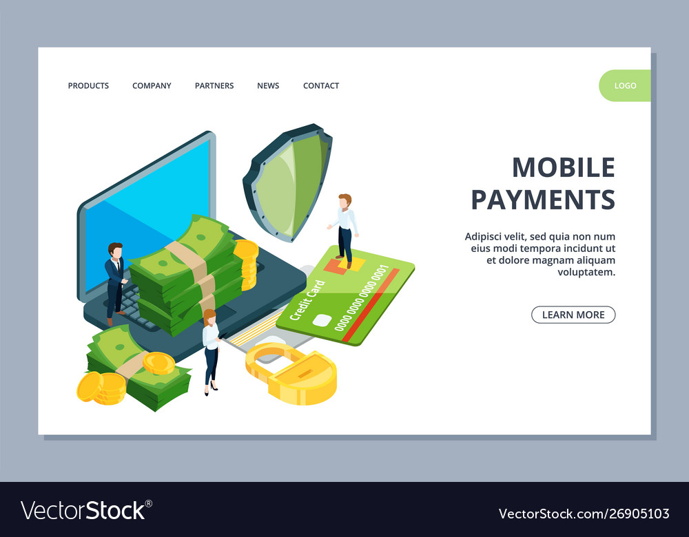 Mobile payments landing page isometric online