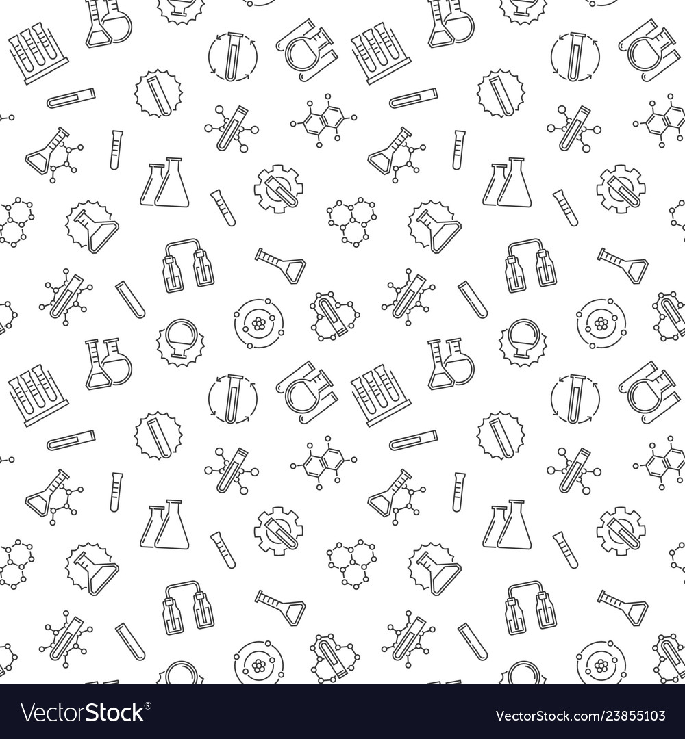 Seamless pattern with chemistry line signs