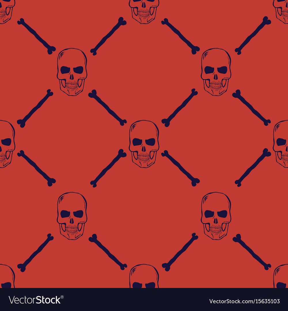 Skulls and bones seamless pattern