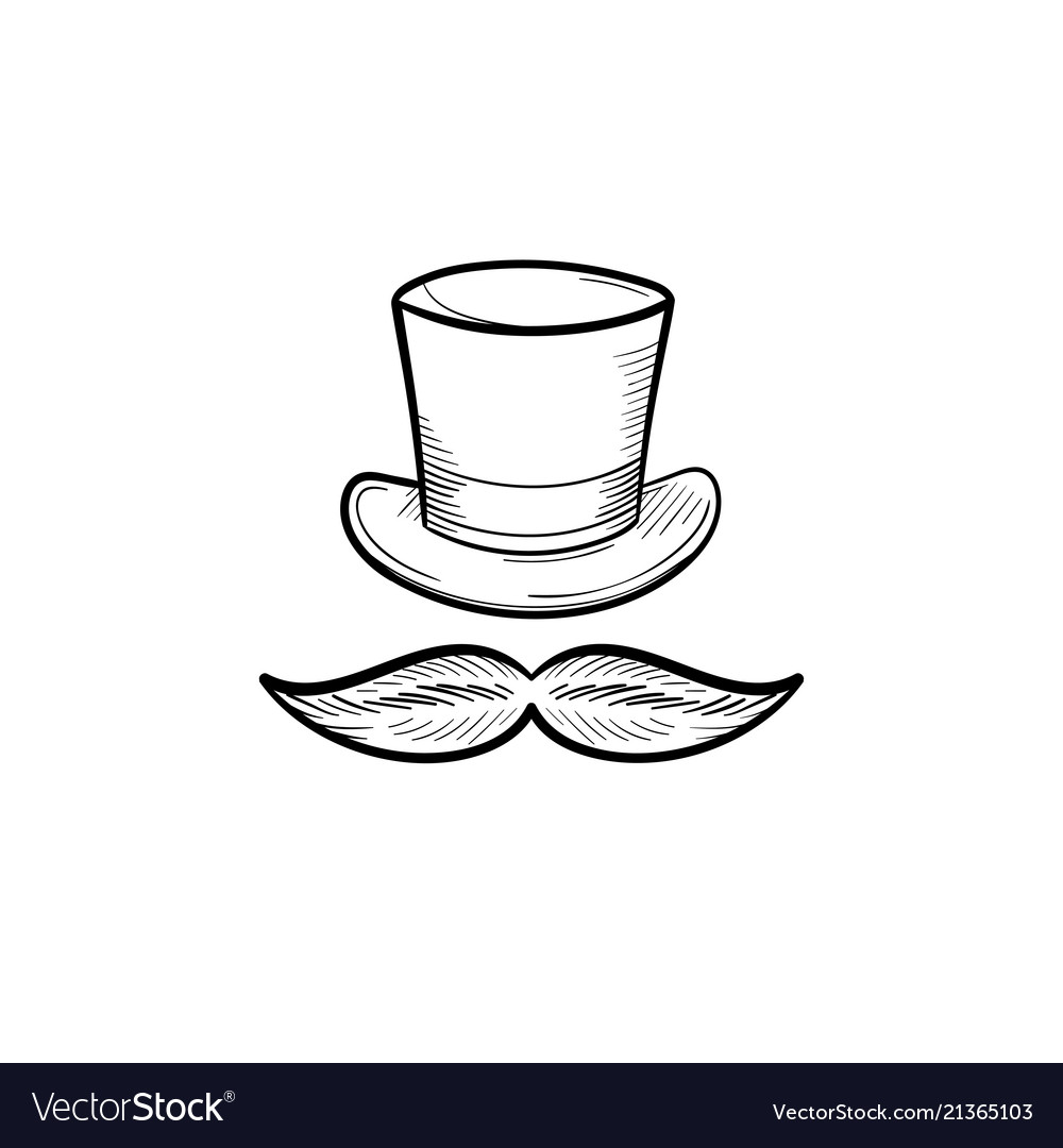 Top hat with mustache hand drawn outline doodle