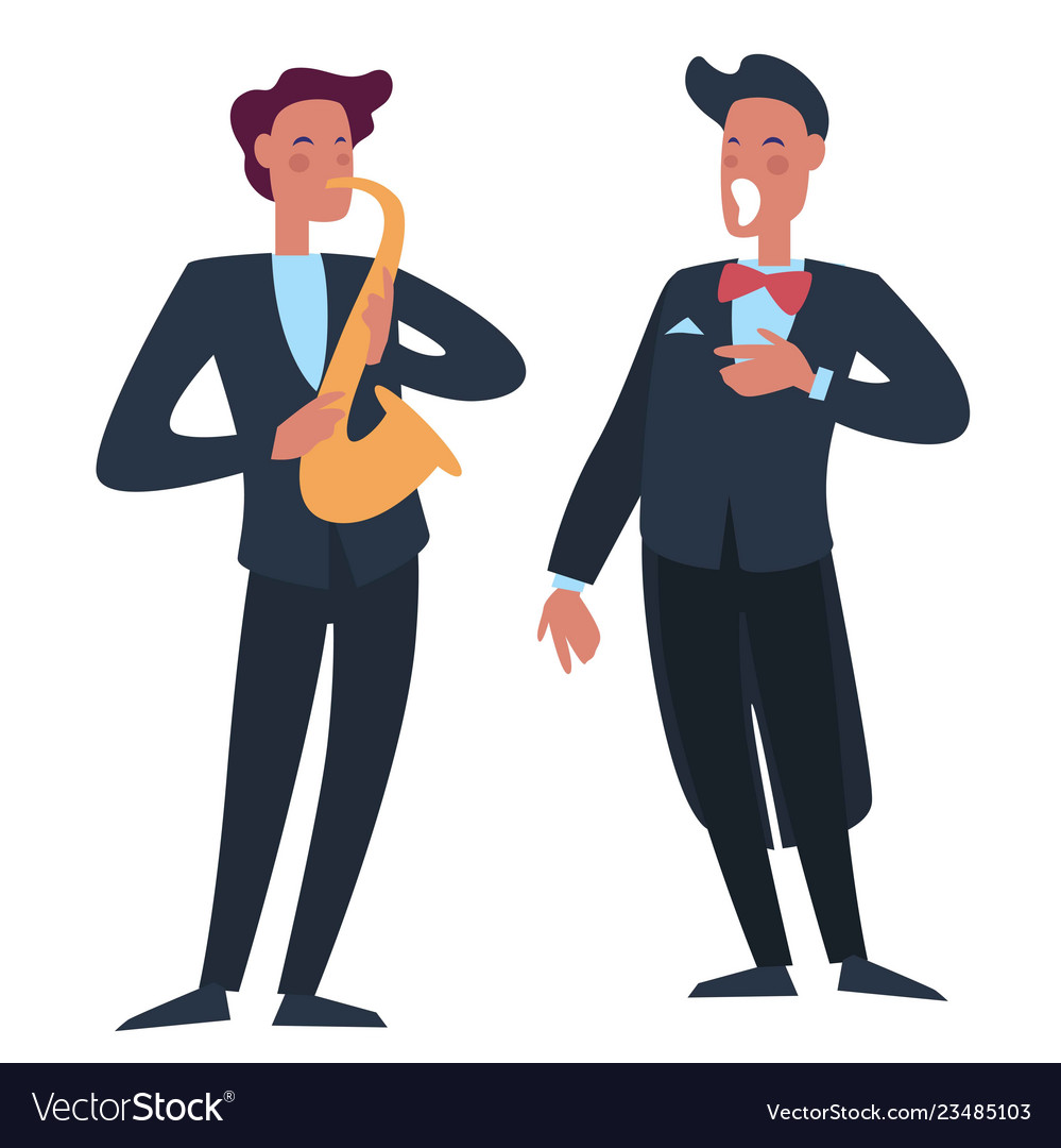 Trumpet player accompanying man singer with opera