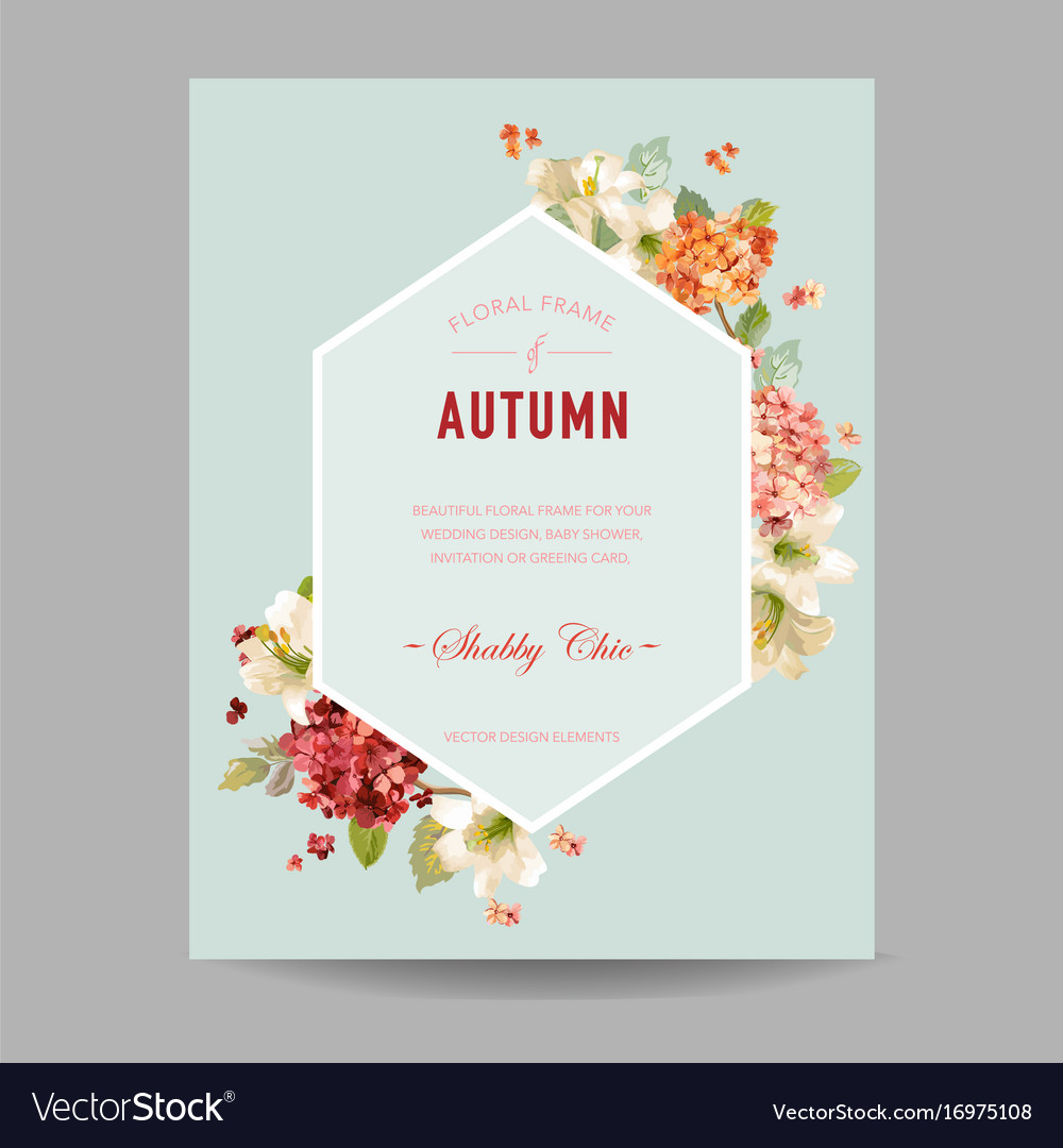 Autumn hortensia flowers for invitation vector image
