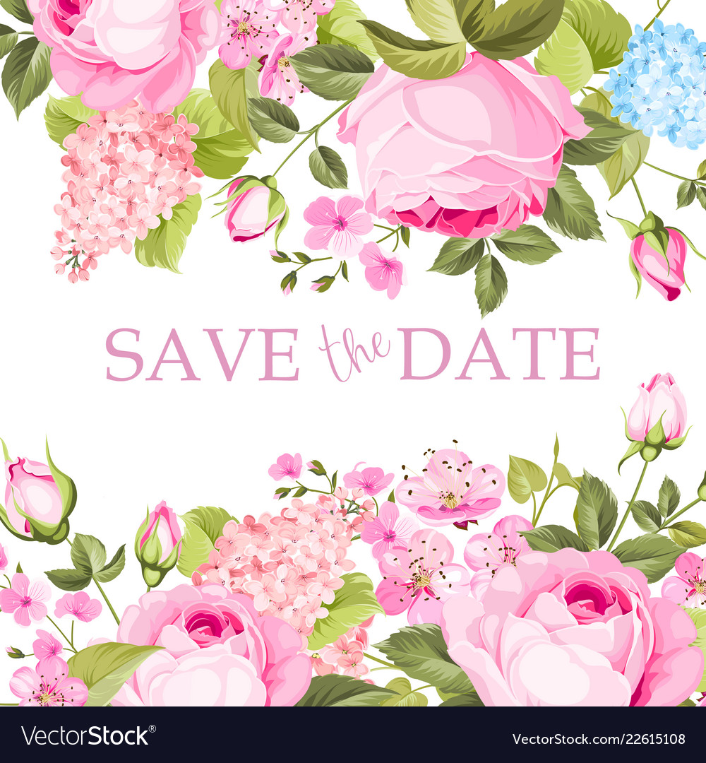 Blooming rose branch on the top of invitation card