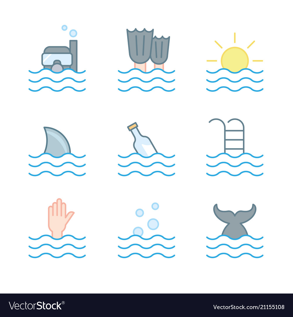 Collection of waves icons symbols