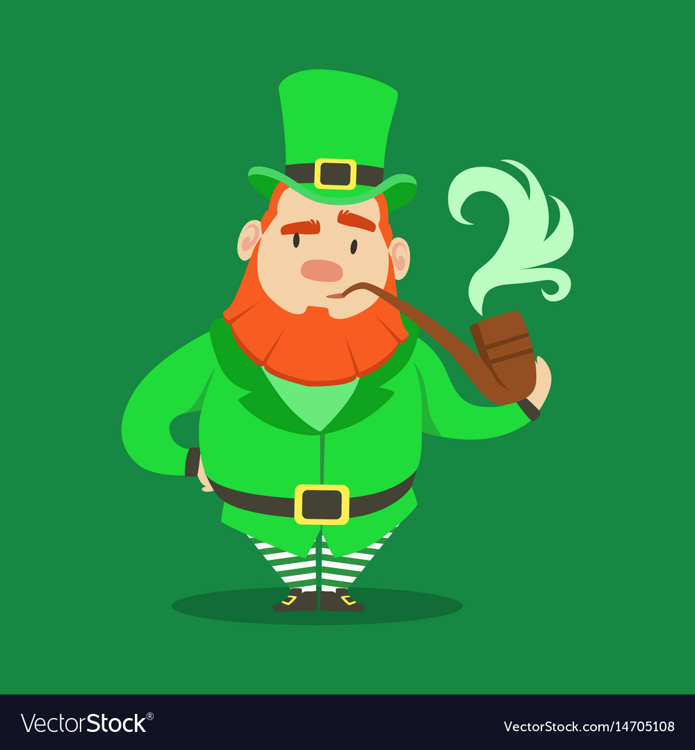 Cute cartoon dwarf leprechaun standing with