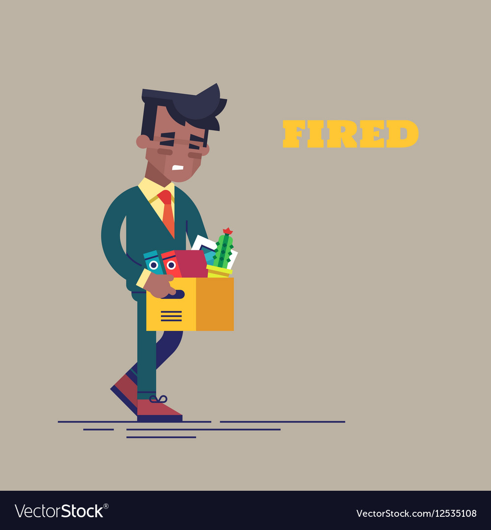 Dismissed black man carrying box with her things vector image