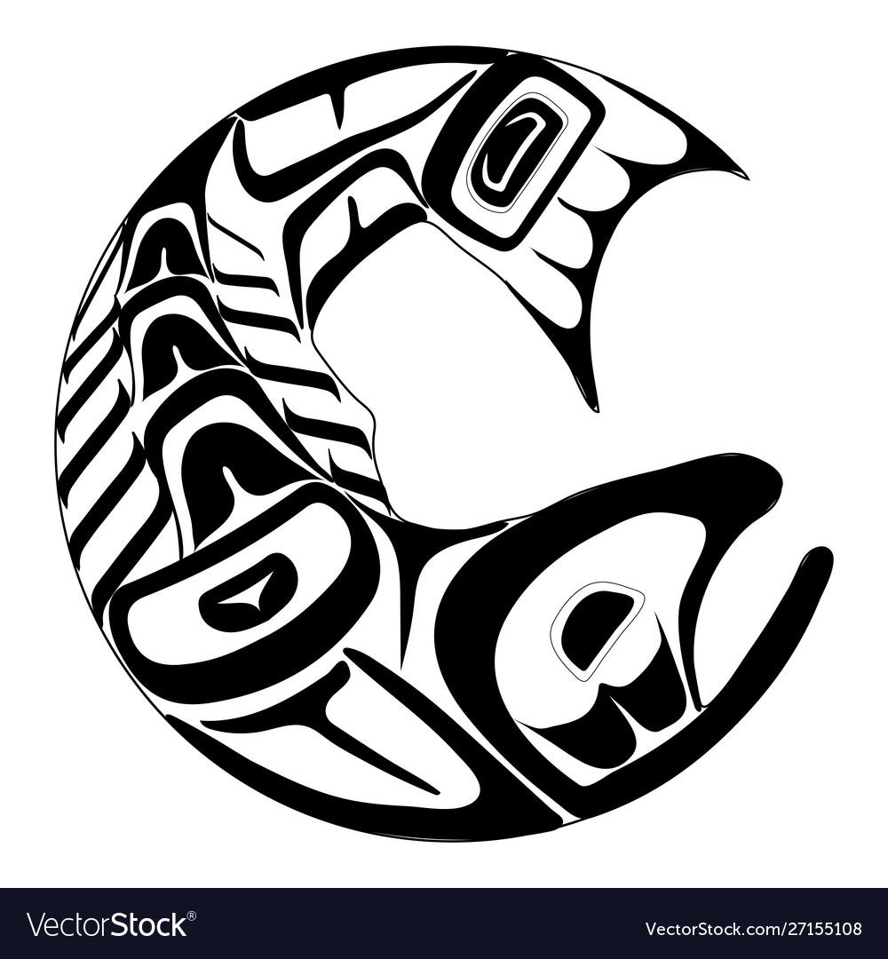 Haida salmon tattoo ornament in haida style