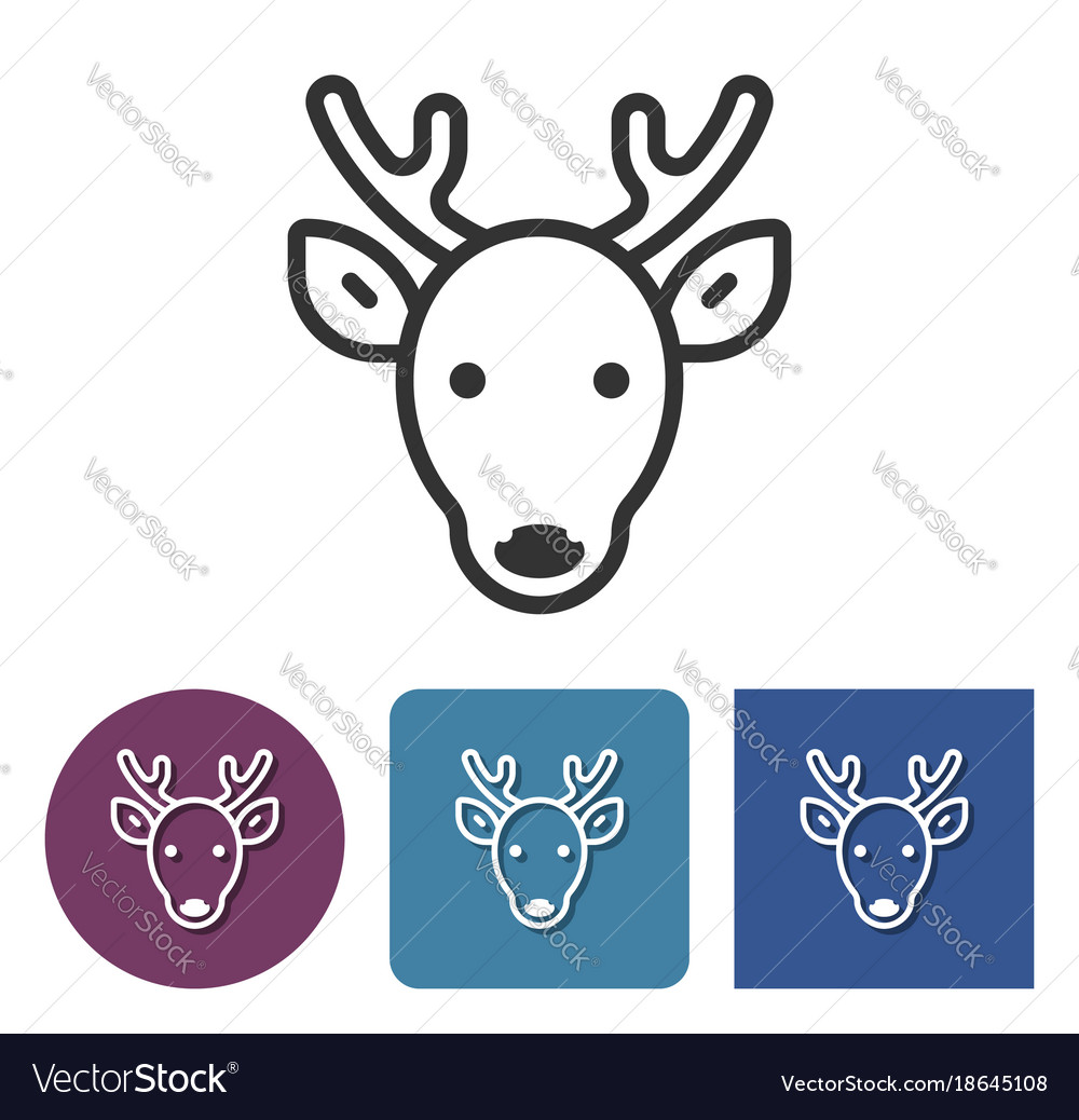 Line icon of reindeer in different variants