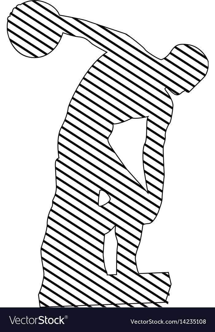 Monochrome silhouette of discobolus sculpture to vector image