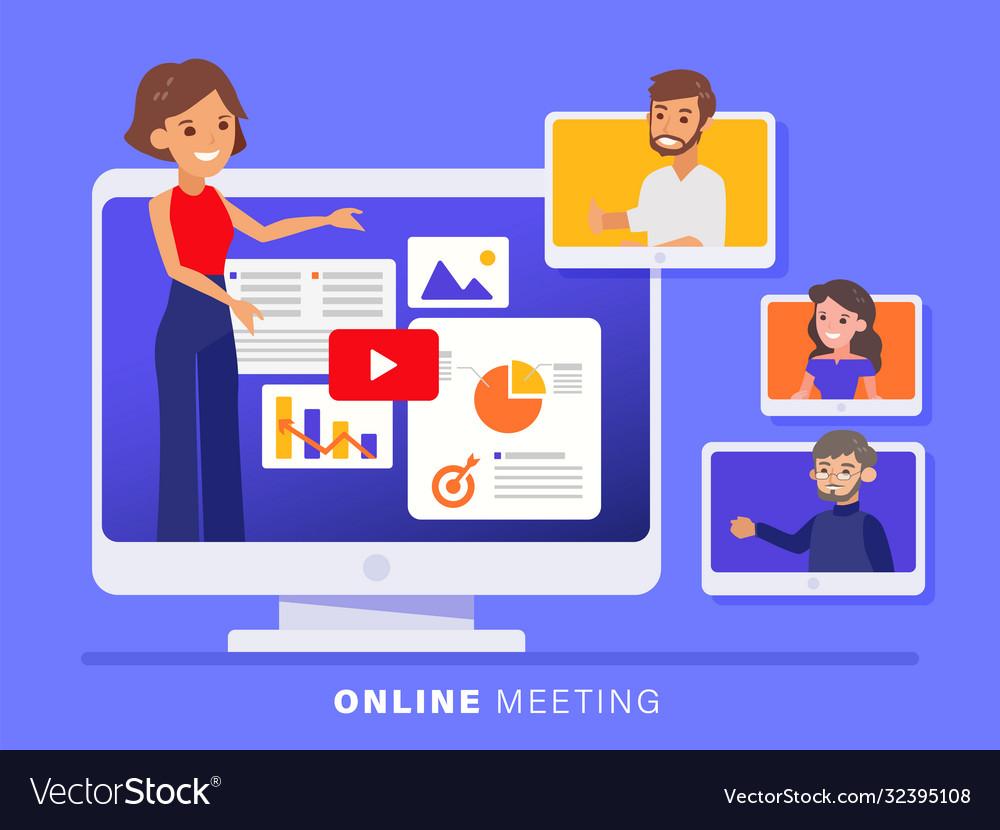 Online business team meeting held via a video