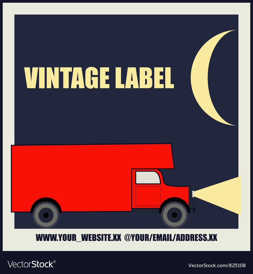 Overnight Delivery Van Vintage Label
