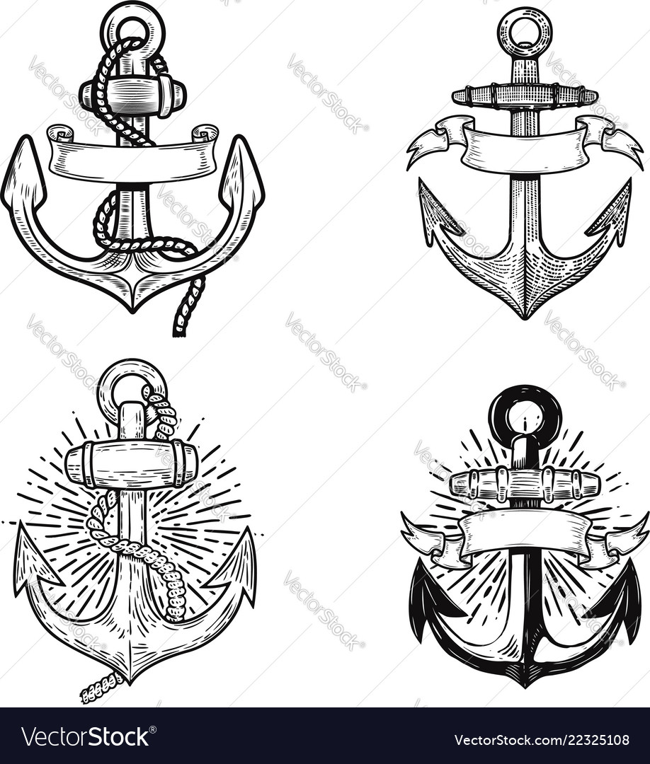 Set emblems with anchors design element vector