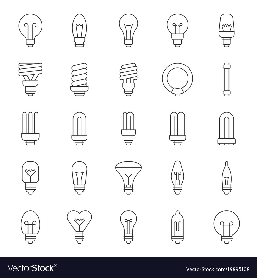 Light Bulb And Fluorescent Vector Image