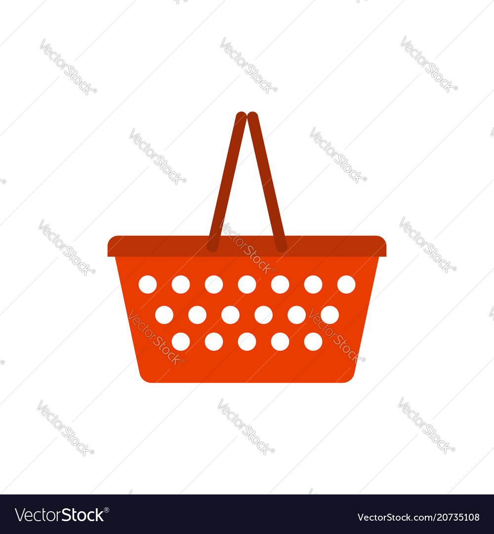Shopping basket red empty isolated on white
