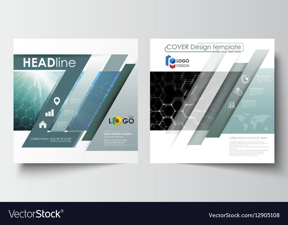 Templates for square design brochure magazine