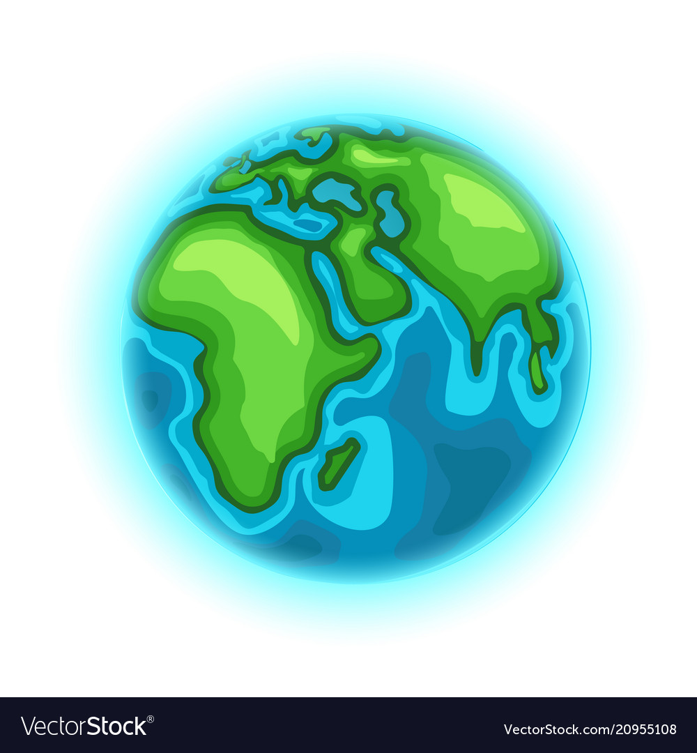 The earth cartoon style isolated on white