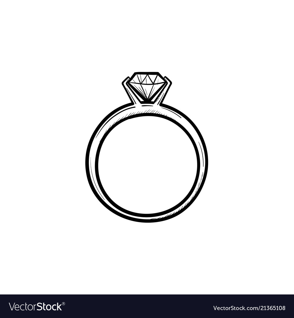 Weddind ring with diamond hand drawn outline