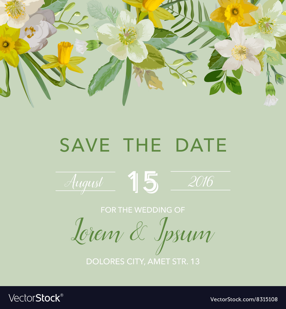 Wedding invitation card - with floral lily blossom