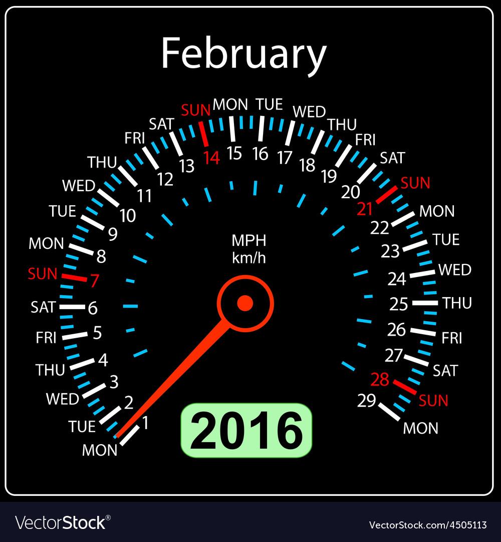 2016 year calendar speedometer car February vector image