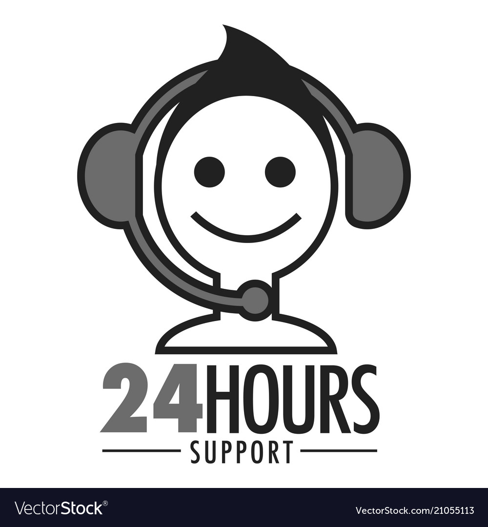 24 hours support face and headset icon