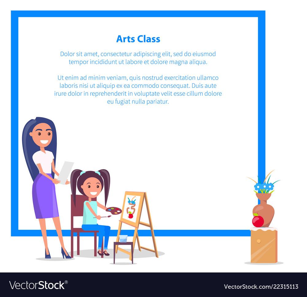 Art class banner with place for text girl teacher