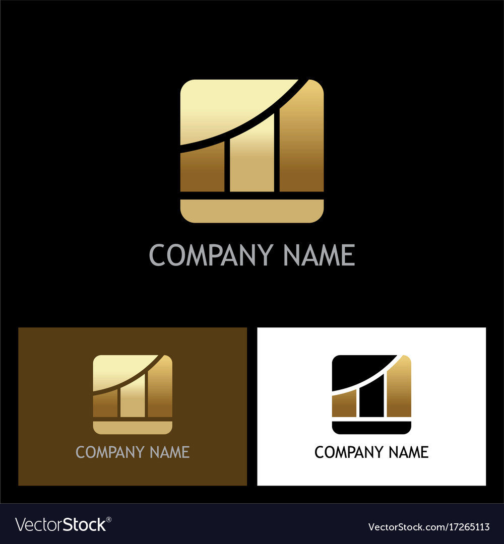 Business finance gold chart logo vector image