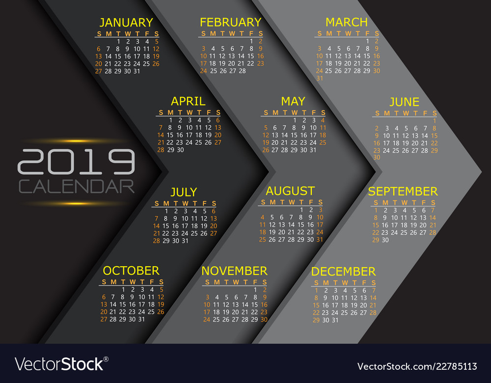 Calendar 2019 yellow white text number on grey