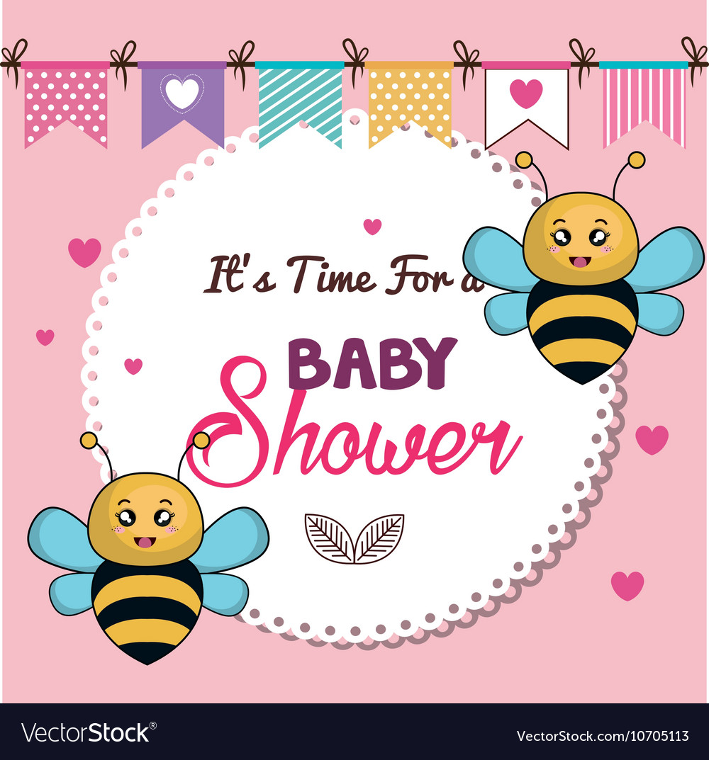 Card baby shower bee twins desing