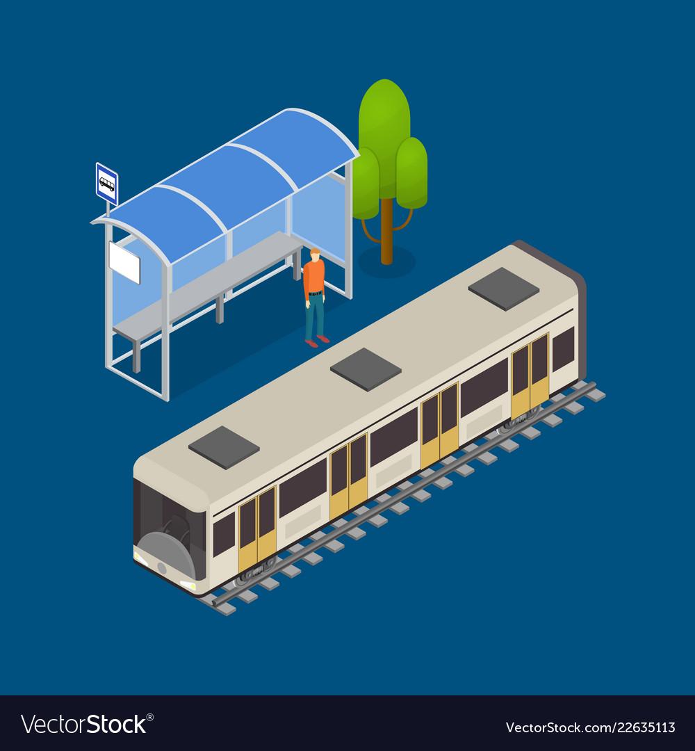 City public transport modern train 3d isometric