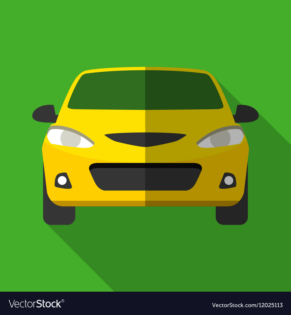 Colorful yellow taxi car icon in modern flat style