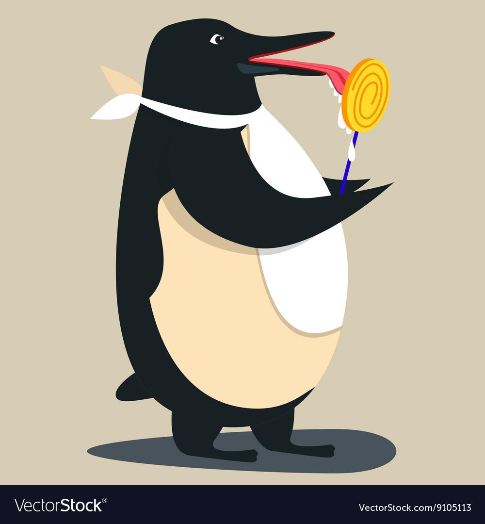 Cute penguin cartoon waving