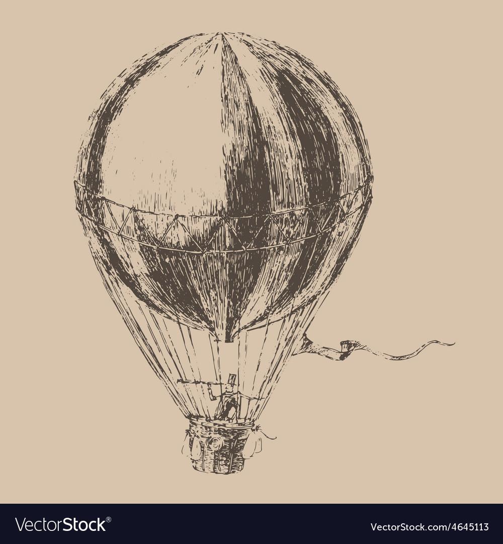 Engravings airship balloon style hand drawn
