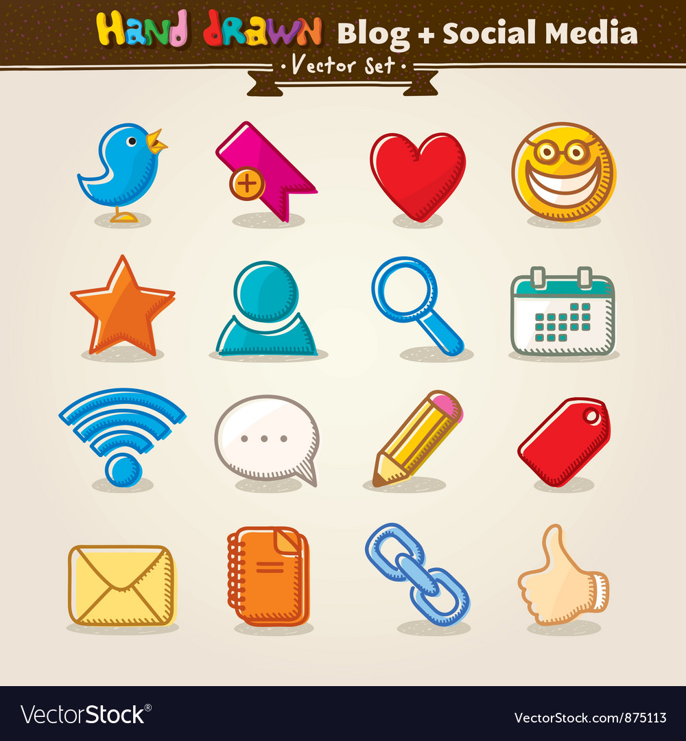 Hand Draw Blog And Social Media Icon Set