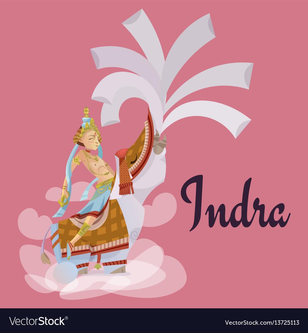 Indra sitting on elephant hindu gods invitation