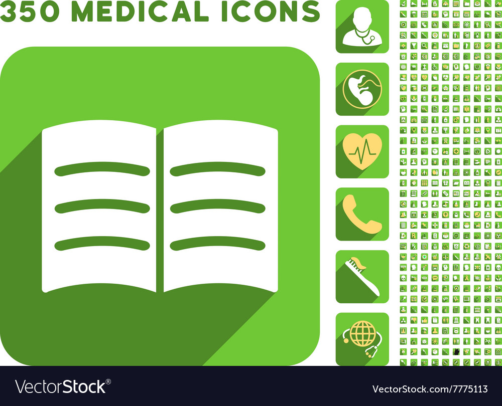 Open Book Icon and Medical Longshadow Icon Set