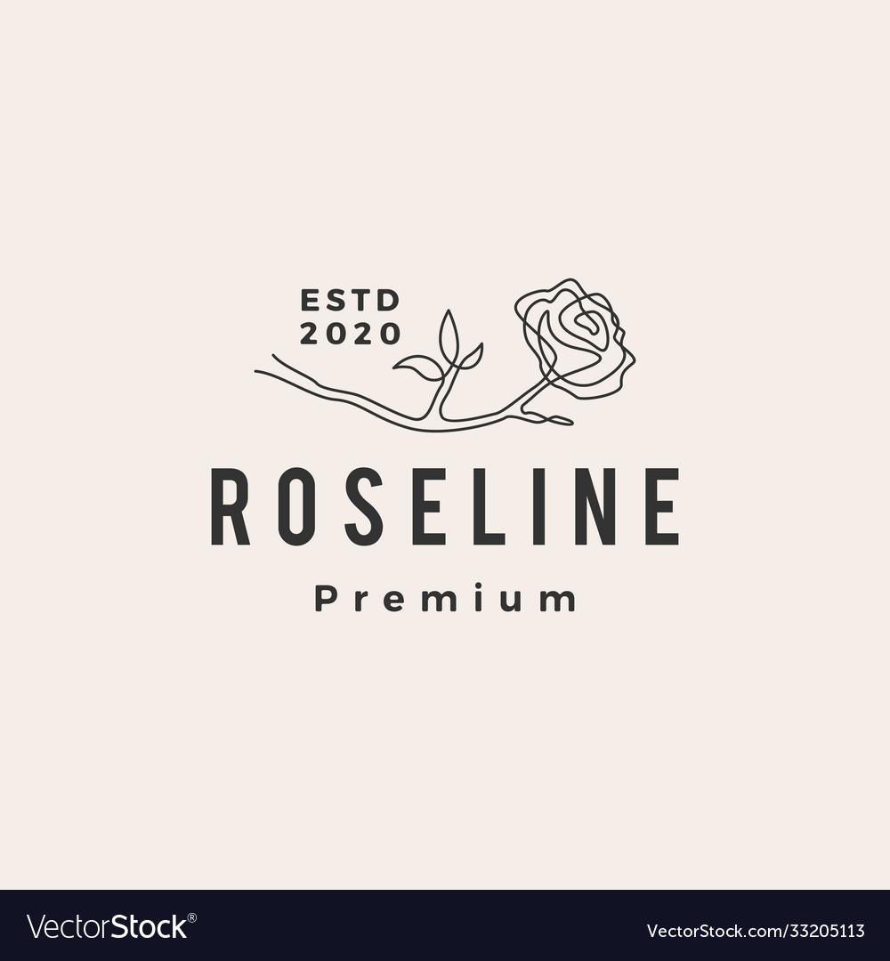 Rose line hipster vintage logo icon