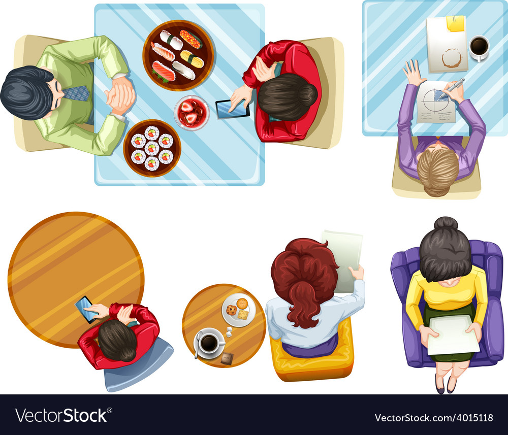 Aerial View Of People Vector Image
