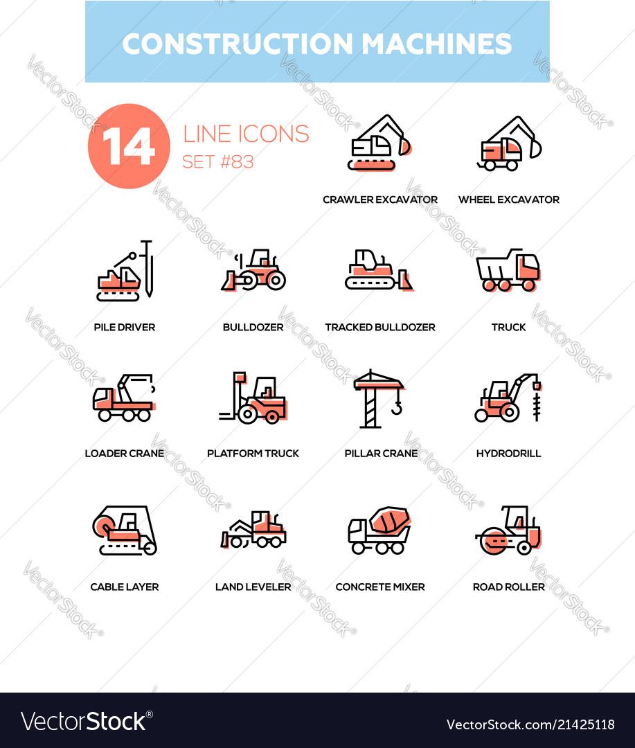Construction machines - line design icons set