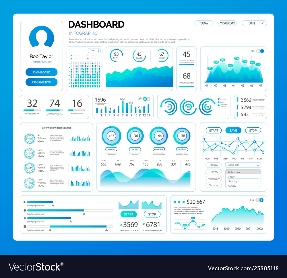 Dashboard infographics on profile person user vector