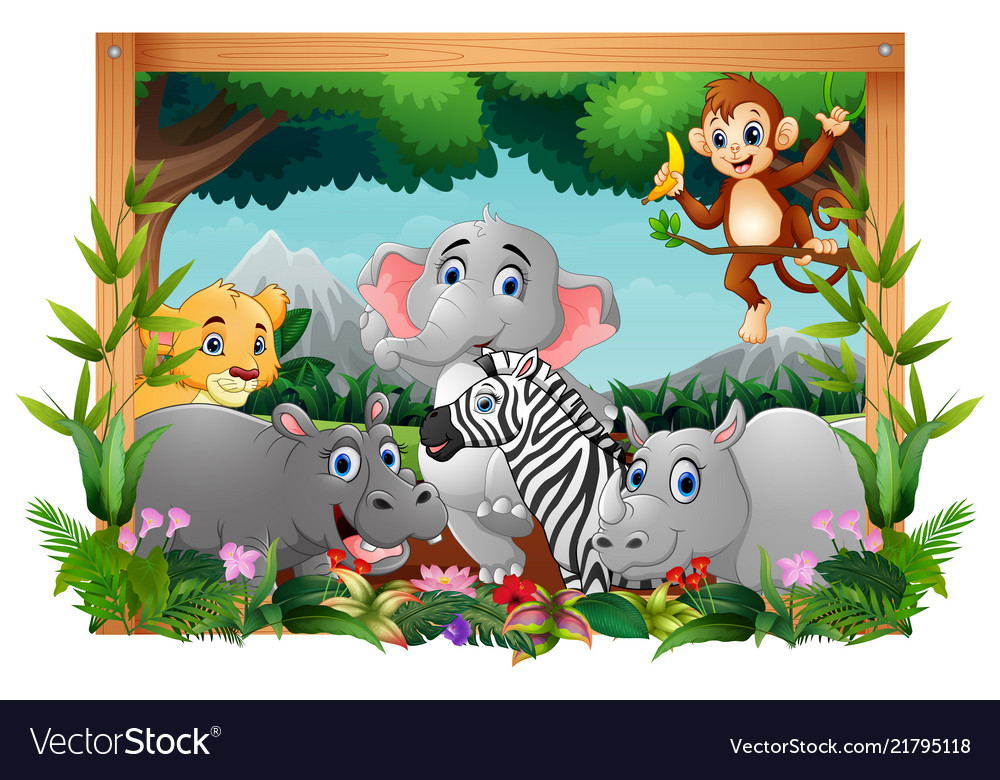Happy animals in square frame