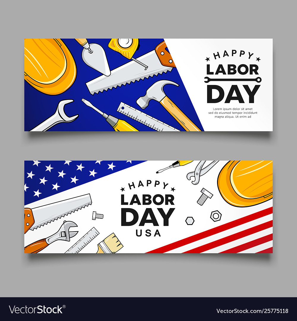 Happy labor day construction tools banners