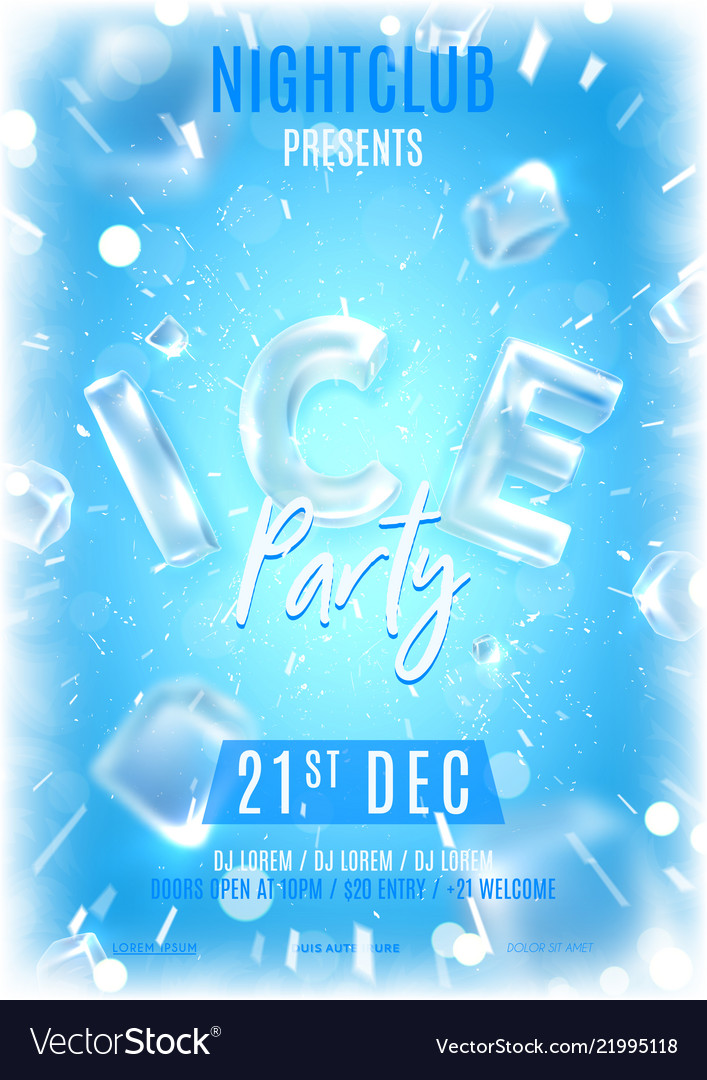 Ice party flyer template