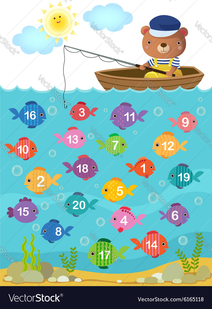 Learn counting number with cute bear Royalty Free Vector